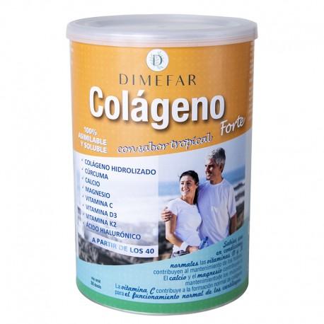 Colágeno Forte Dimefar Sabor tropical con colágeno, cúrcuma, calcio, magnesio, ácido hialurónico y vitaminas C, D3 y K2.